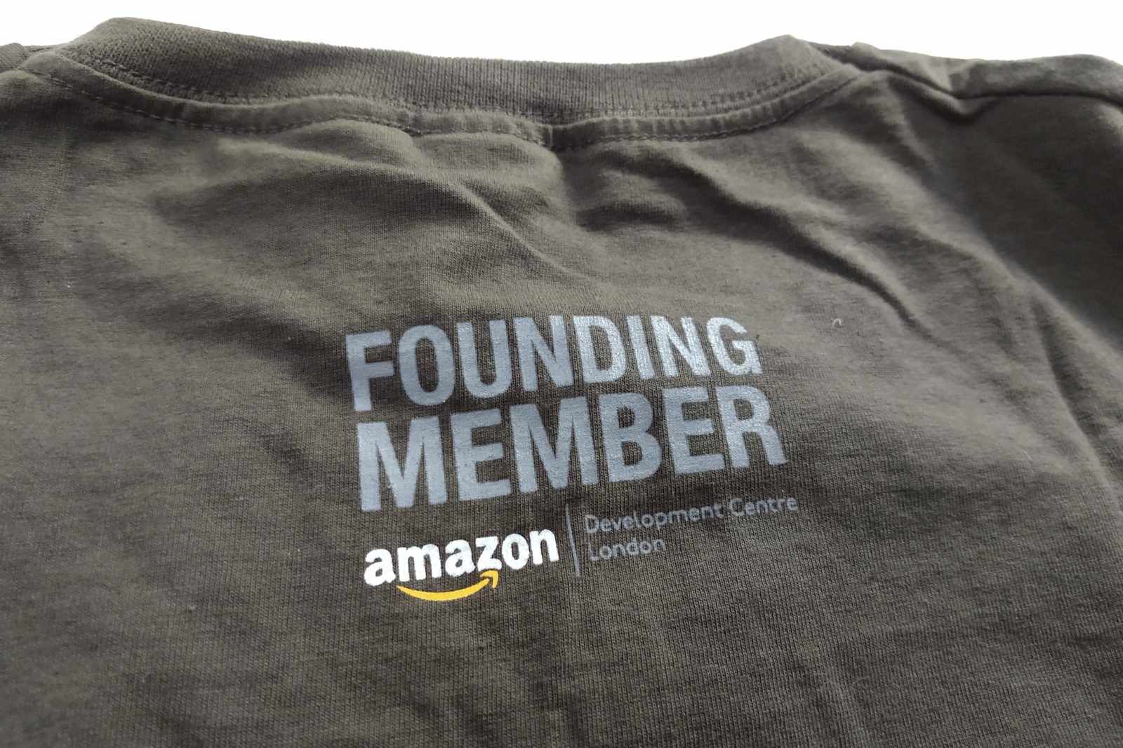 Back of t-shirt saying Amazon Develoment Centre London Founding Member