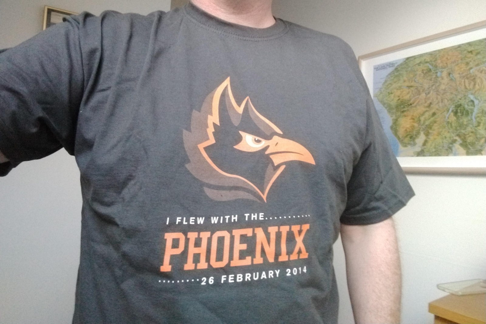 "T-shirt emblazoned with ""I flex with the Phoenix - 26 February 2014"