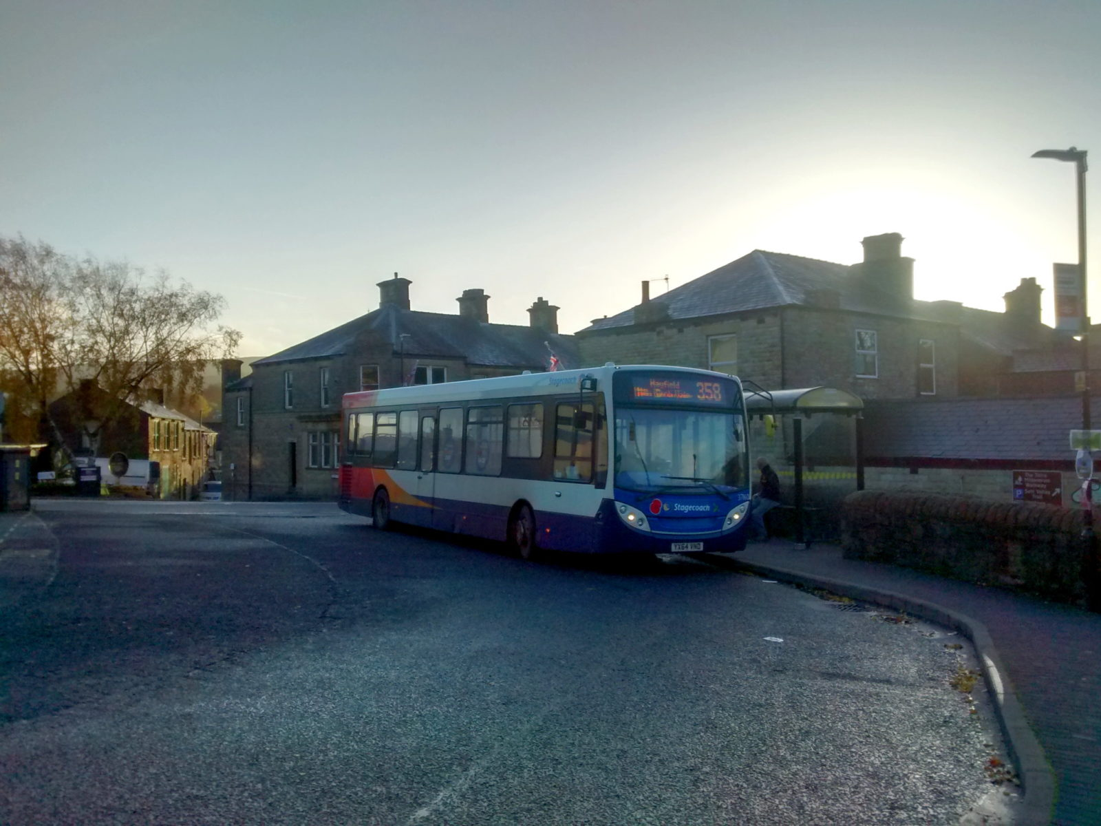 A Stagecoach Manchester bus on the 358 route, stood at New Mills bus station